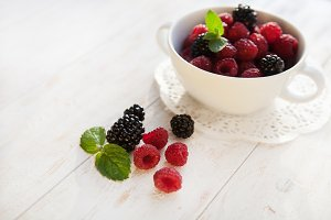 Juicy fresh  raspberries and blackberries
