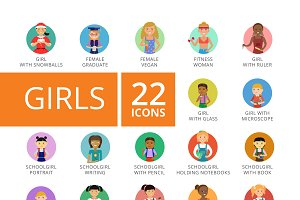 Girls Icons Set
