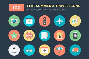 100 Flat Summer and Travel Icons