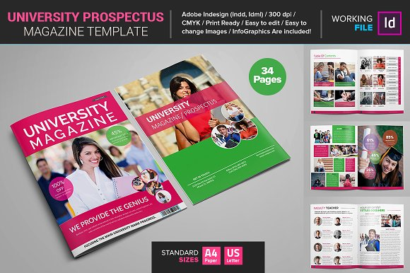 University Prospectus Magazine Brochure Templates on Creative – University Brochure Template