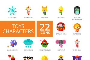Toys Characters Icons Set