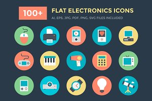 100+ Flat Electronics Icons