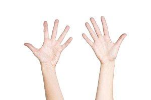 Woman hand hold virtual