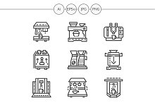 Coffee machine simple line icons