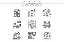 MRI equipment line icons. Set 3