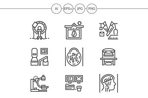 MRI equipment line icons. Set 3