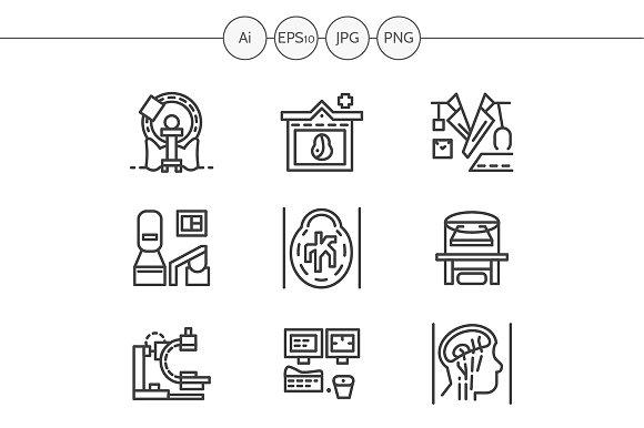 MRI equipment line icons. Set 3 - Icons