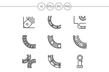 Bearings line vector icons. Set 2