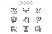 Cat selfie simple line icons. Set 3