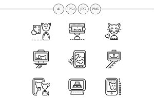 Cat selfie simple line icons. Set 3