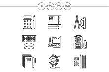 School accessories line icons. Set 1