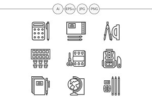 School accessories line icons. Set 1