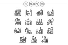 Industrial building line icon. Set 3