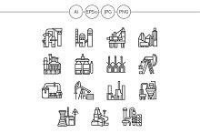 Industrial building line icon. Set 3