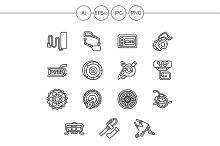 Electric bike parts line icons