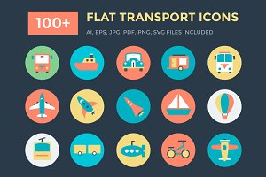 100+ Flat Transport Icons