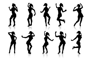Silhouettes of a dancing woman
