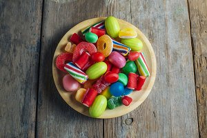 Colorful candy gum