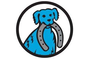 Blue Merle Dog Biting Horseshoe