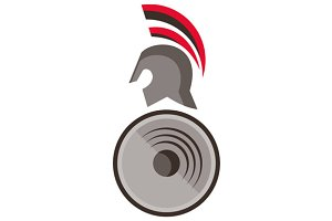 Spartan Warrior Helmet Shield Retro