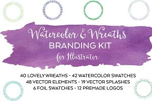 Watercolor & Wreaths Design Bundle