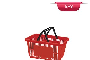 red shopping basket design element