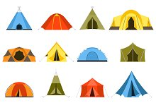 Hiking and Camping Tents Vector Set