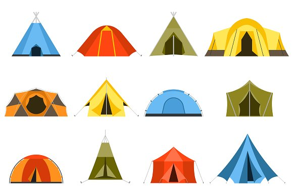Hiking And Camping Tents Vector Set