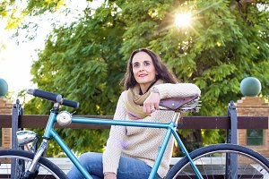 Woman with vintage bike