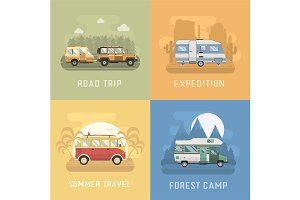 Rv Campers Travel Backgrounds Set