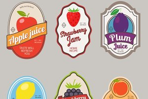 Retro fruit posters or labels