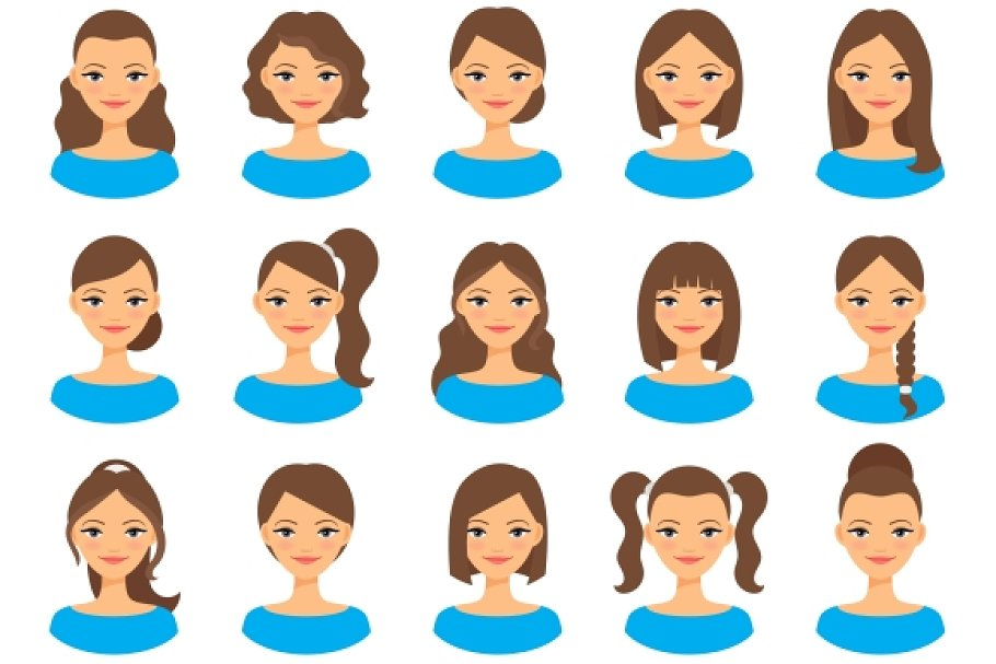 Women various hair styles