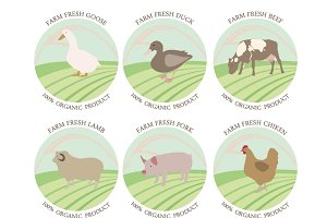 Meat stamp and label vector set.