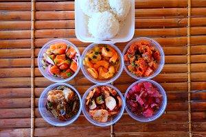 Delicious Poke Smorgasbord w/ Rice