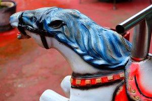 White Mechanical Race Horse