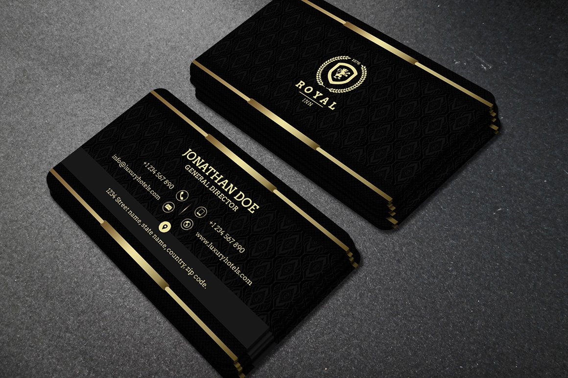 Gold and black business card 40 business card templates gold and black business card 40 business card templates creative market fbccfo Image collections