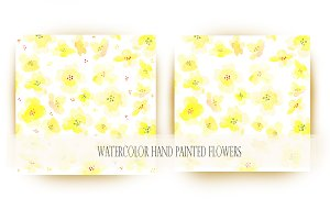 Yellow watercolor paint flowers