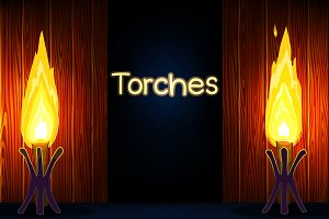 ♥ vector Cartoon torches
