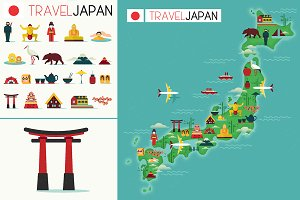 Travel Map of Japan and Icons