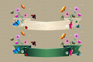 ♥ vector Cartoon nature ribbons