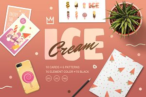 Set of Ice Cream Style Flat