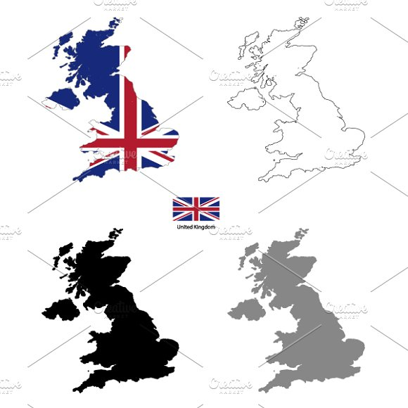 United Kingdom country silhouettes