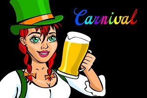 girl with beer, carnival lettering
