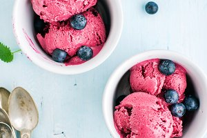 Homemade blueberry ice cream scoops