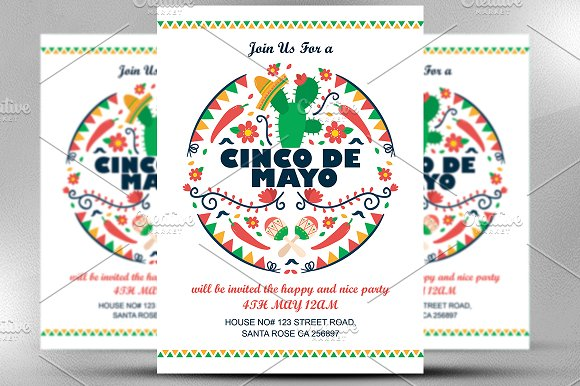 cinco de mayo invitation invitation templates creative market