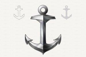 ⚓ vector Silver Anchor