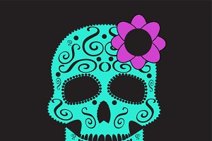 skull vector with flower