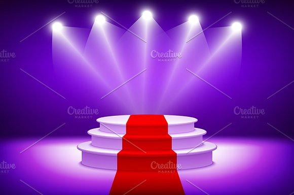 3d Illuminated stage podium vector