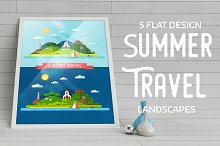 Summer Island Travel Flat Landscape