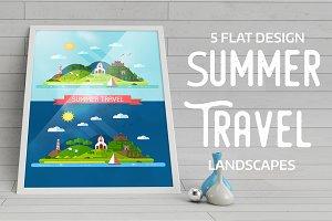 Summer Island Travel Flat Landscape